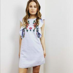 Zara Blue Ruffle Embroidered Mini Dress